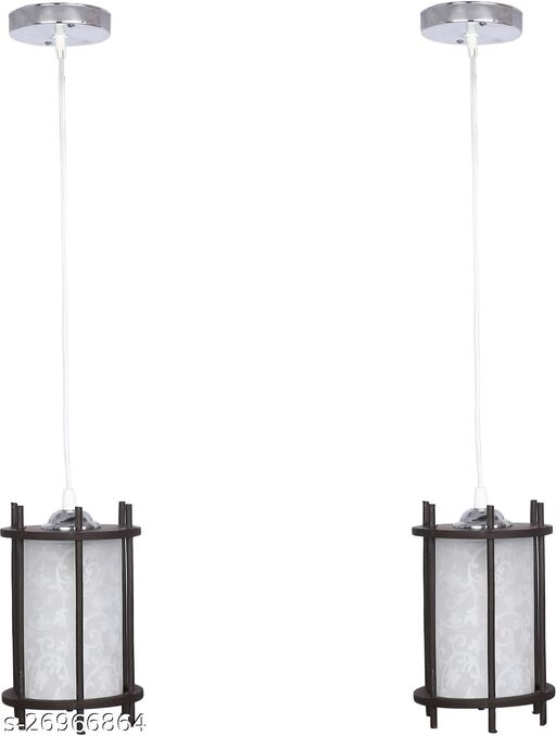 Somil styles Pendant Hanging Ceiling Lamp Light With styles Wooden Box & All Fitting (Set Of Two)