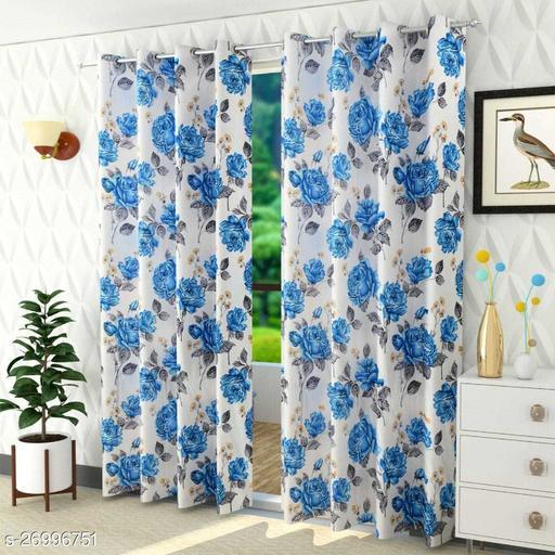 Letest Flower Print 2 Piece Fancy Curtains