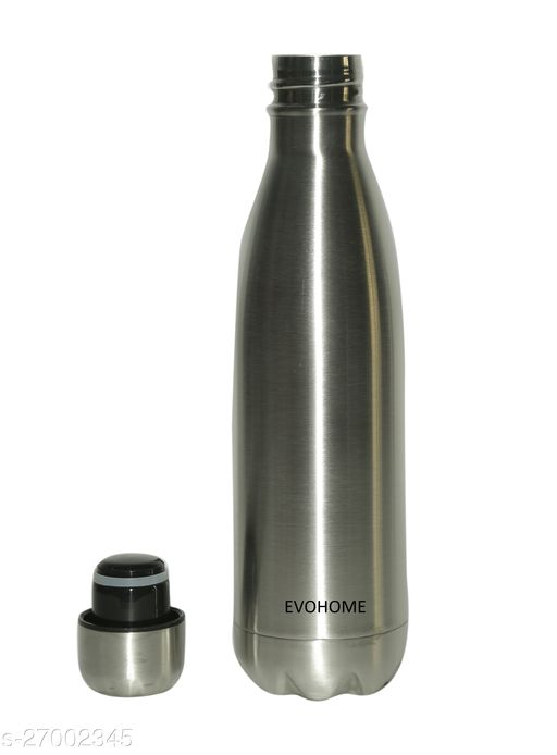 EVOHOME® Stainless Steel Water Bottle 1 Litre Double Walled 24hrs Hot Cold Heat Insulation Thermosteel Water Bottles Set For Kitchen Fridge Home Office (Set Of 1, 1000ml)