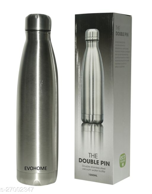 EVOHOME® Stainless Steel Water Bottle 1 Litre Double Walled 24hrs Hot Cold Heat Insulation Thermosteel Water Bottles Set For Kitchen Fridge Home Office (Set Of 1, 500ml)