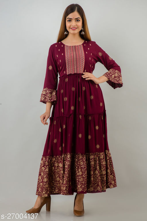 Trendy Rayon Tiered Long Gown
