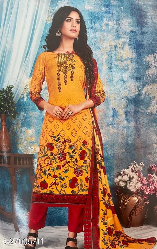 Designer Indo Cotton Printed Suit with Trendy Printed Dupatta