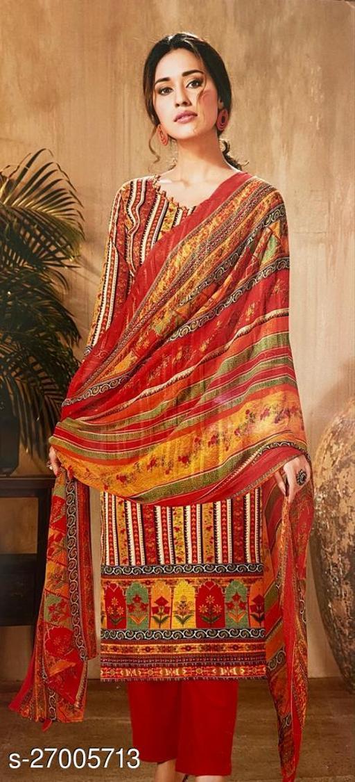 Designer Pure Cotton Silk Printed Suit with Trendy Printed Dupatta