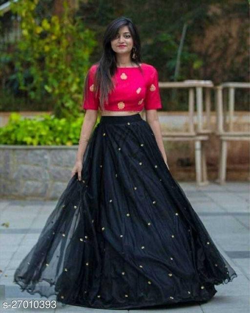 Maliya Fabulous Black Colour Net Semi-Stitched Lehenga Choli