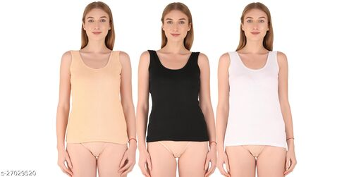 Women Pack of 3 Multicolor Cotton Blend Camisoles
