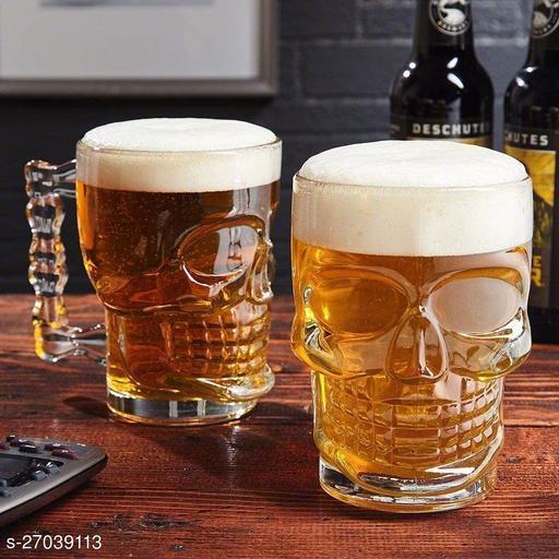 Skull Beer Mug 320ML Glass Transparent for Your Home Bar (Set of 2)
