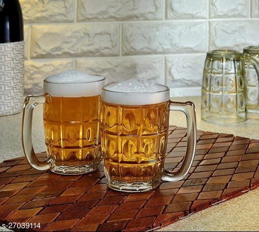 Glass Jumbo Beer Mug Set - 2 Pieces, Multicolor, 565 ml