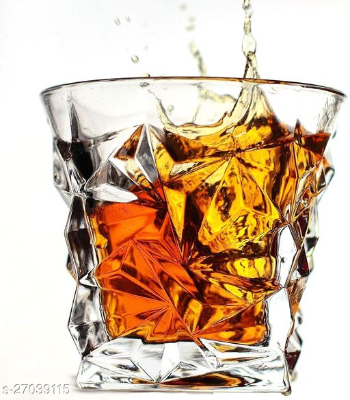 Crystal Cut Whiskey Glasses - 6 Pieces, Transparent, 300 ML