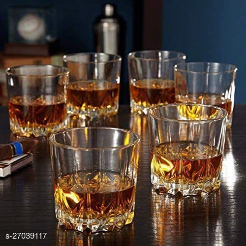Crystal Round Design Whiskey Tableware Glass with Heavy Base, 300ml Set of 6