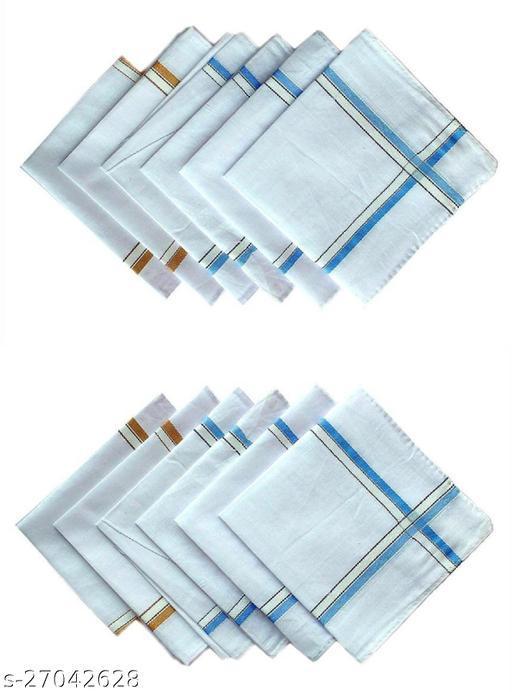Keddy Premium Quality Men's white Hanky Pack of 12