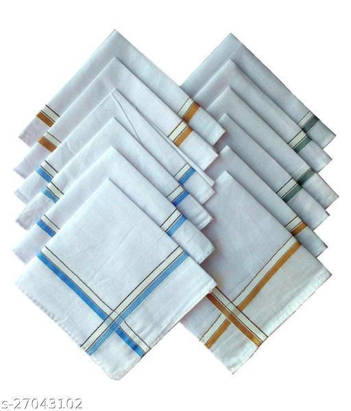 Piftif Premium Quality Men's white Hankerchiefs Pack of 12