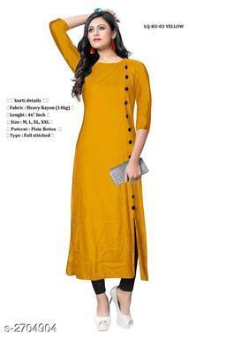 Women Rayon High- Slit Solid Mustard Kurti