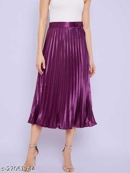 Satin Western Pleated Skirt