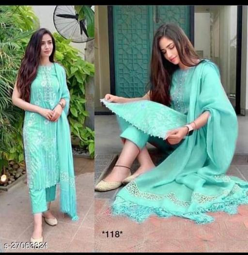 women's new sltylish kurta pant and dupatta set with rayon