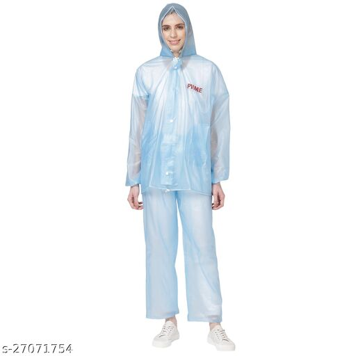 NHR Prime Men and Women 100% Waterproof Lightweight Raincoat with Jacket, Hood and Pant with Pockets (Size : Free Size, Blue)