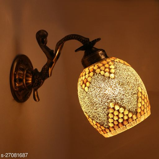 Afast Sconce Wall Lamp Light With Doll Shape Fitting , Multicolor , Decorated Colorful Shade, Metal, Glass, Compatible With 5 To 60 Watt