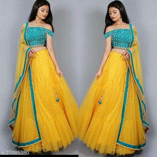 Maliya Fabulous Yellow-Rama Colour Net Semi-Stitched Lehenga Choli