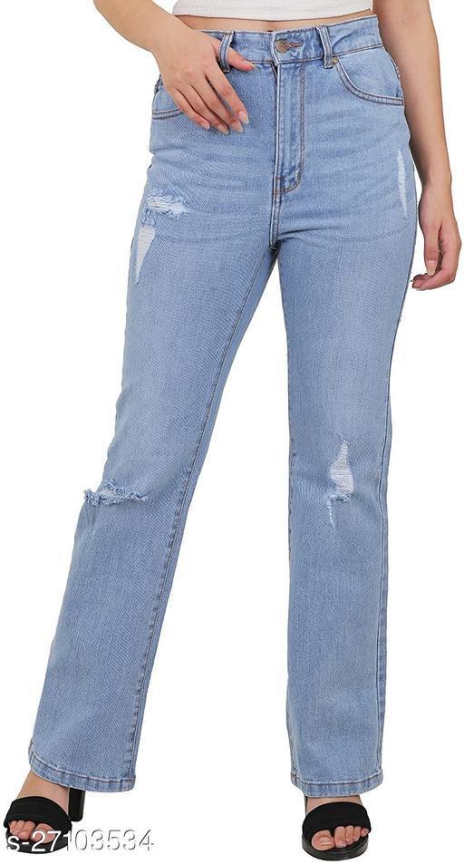 Sisney High Waist Bootcut Rugged  Jeans For Women