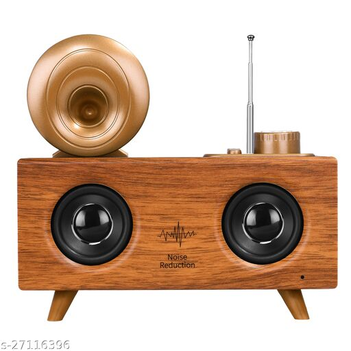 Walrus Woodpecker Bluetooth Speaker With 6-8 Hour Playing Time, Fm Radio,Built-In Mic, Handsfree Call, Aux Line, Usb Flash Drive, Micro Sd Card, Hd Stereo Sound And Bass(Brown Wooden)