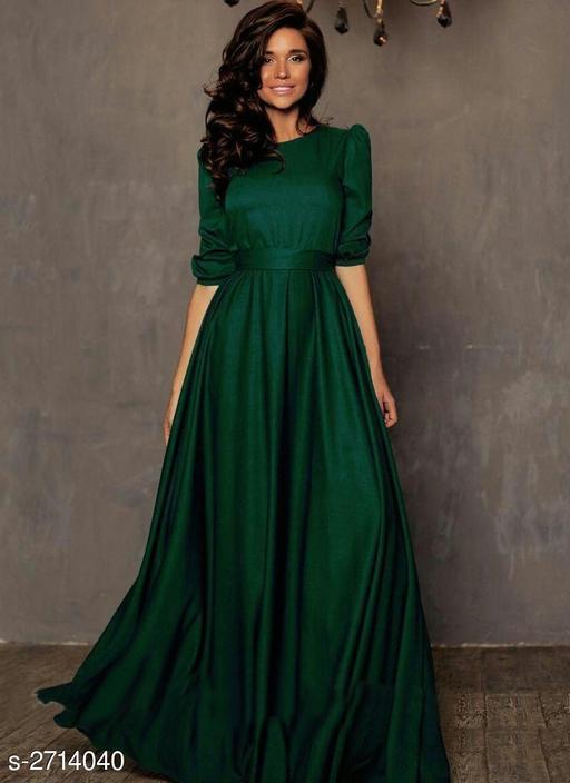 Solid Green Maxi Taffeta Silk Dress