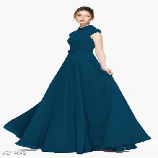 Solid Blue Maxi Taffeta Silk Dress
