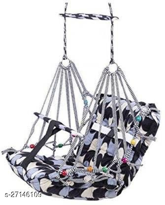 Soft Cotton Swing for Kids Baby's Children Folding and Washable 0-3 Years with Safety Belt Home Garden Jhula for Babies for Indoor Outdoor (Black)  other home utility