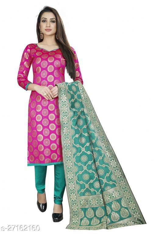 Designer daily wear jacquard woven banarasi cotton pink colour unstitched dress material