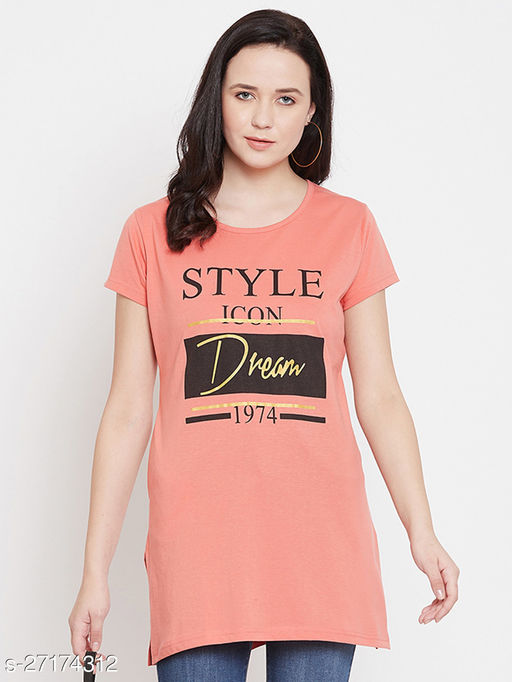 First Love Women's Coral Round Neck Long Tshirt