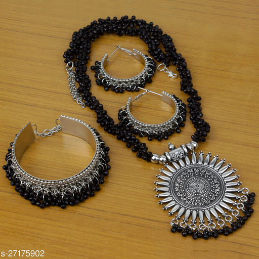 Beautiful Oxidised Necklace for Women and Girls with Bracelet AND Earring