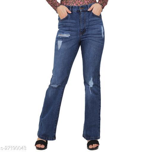 Sisney women high waist blue bootcut jeans