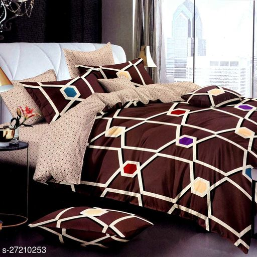 Fine Glace Cotton Double Bed Bedsheet
