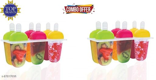 Candy Mould, Ice Candy Maker Plastic Frozen Ice Cream Mould Tray of 6 Candy with Reusable Stick (Set Of 2)