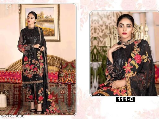 Dharmi Enterprise Black Georgette with Embroidery with Sequence Work