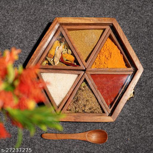 Doon Wooden Spice Box, Masala dani for kitchen Pure Sheesham Wooden masala box with spoon, Stylish Masala box for kitchen Wooden spice box set Indian Masala Dabba