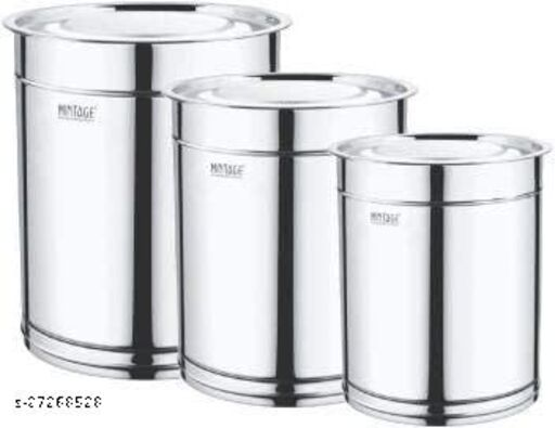 Mintage Stainless Steel Pawali Set 3.5,5,7 L Drum (Silver, Pack of 3)