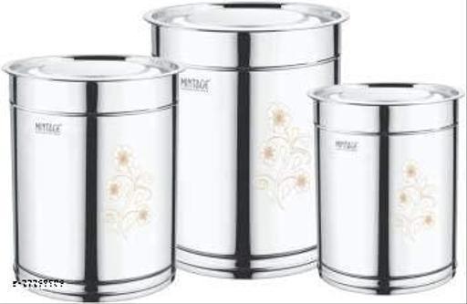 Mintage Stainless Steel Laser Pawali Set 3.5,5,7 L Drum (Silver, Pack of 3)