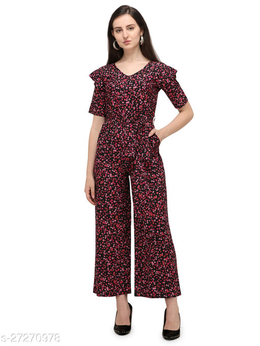 Serein women's Jumpsuit (Multicolored floral printed crepe jumpsuit with shoulder ruffle & V-neck)