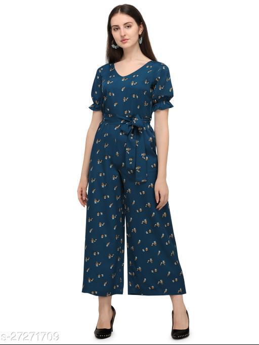 Serein women's Jumpsuit ( Blue printed crepe jumpsuit with elasticated half sleeve & v-neck)