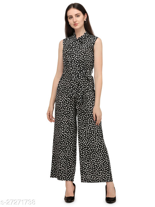 Serein women's Jumpsuit ( Black & white polka printed crepe sleeveless jumpsuit with tie-up neck)