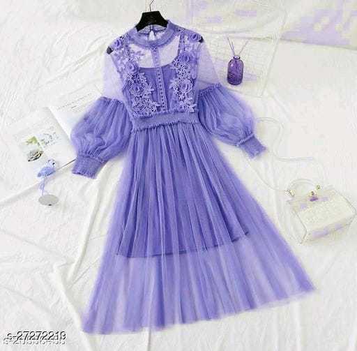 Lace Flowers Dream Gauze Dress Temperament Collar Lantern Sleeve High Waist Dress