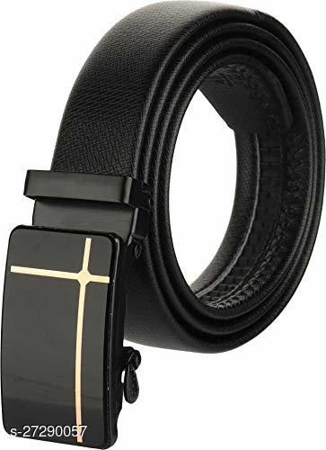 Get Awesome  Genuine Leather Auto lock Buckle Black Belt For Men (Free Size)