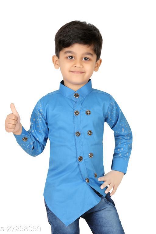 FASHION GRAB Boys Slim Fit Solid Mandarin Collar Casual Shirt