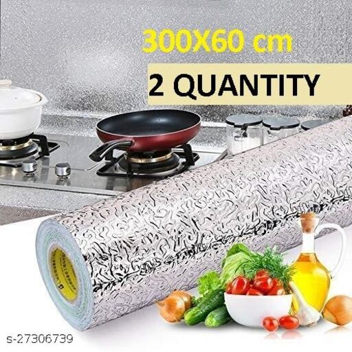 Amazing Foil wallpaper Oil Proof Self-Adhesive Anti-Mold and Heat Resistant Backsplash Aluminum Foil Stickers/Wallpaper for Kitchen Walls Cabinets Drawers and Shelves, size (60*300) cm (2 QUANTITY)