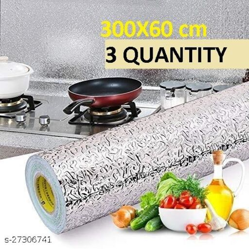 Amazing Foil wallpaper Oil Proof Self-Adhesive Anti-Mold and Heat Resistant Backsplash Aluminum Foil Stickers/Wallpaper for Kitchen Walls Cabinets Drawers and Shelves, size (60*300) cm (3 QUANTITY)