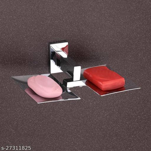 AITA BATHWARE Chrome Finish Steel Soap Dish, Soap Case, Soap Holder (2 in 1 Double Soap Dish, Free Fitting Accessories)