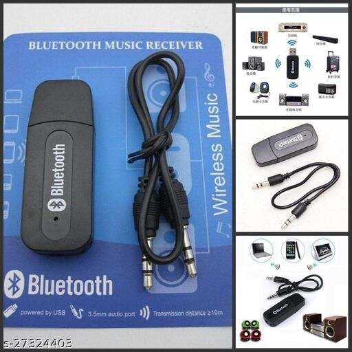 Wireless Bluetooth V2.1 Car Kit Hands Free 3.5mm Music Audio Receiver Compatible with Smart Mobiles