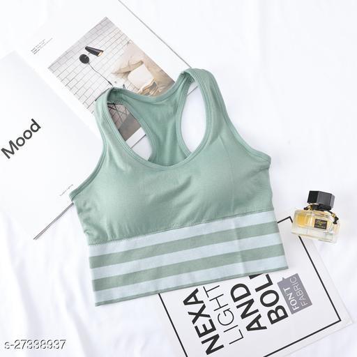 Tomkot Women padded seamless gym yoga workout sports bra strips print