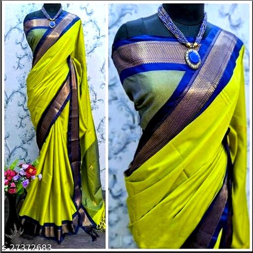 MahaTraditional Paithani Silk saree With Attached  Blouse Piece