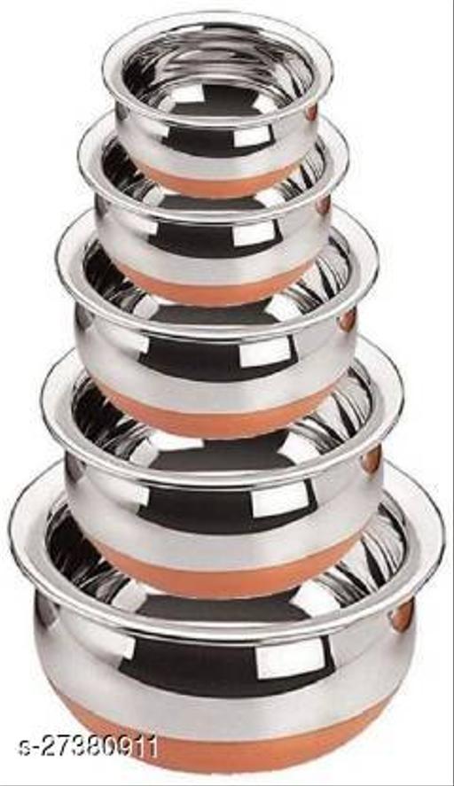 DHARMIK FASHION Stainless Steel Handi Set,  Set of 5 (Silver)