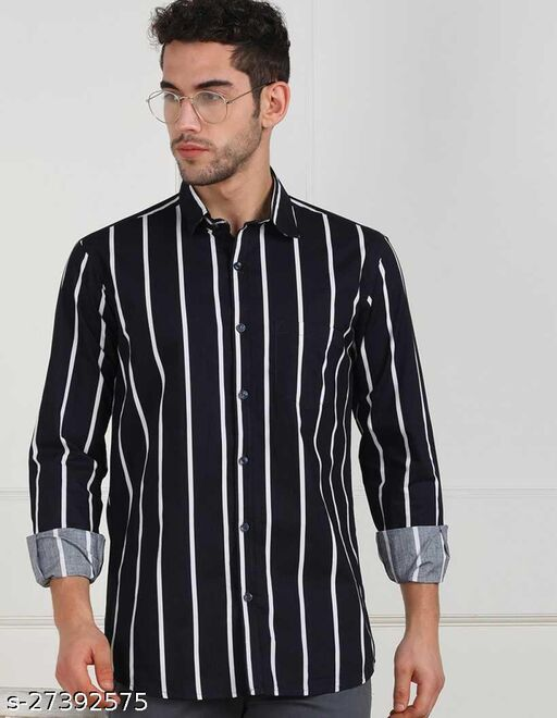 Eighteen Up Men Slim Fit Striped, Printed Spread Collar Casual Shirt